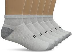 Champion Men's 6-Pack Quarter Socks, White/Grey, 10-13
