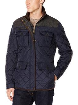 Vince Camuto Men's Quilted Jacket with Plaid Yoke, Navy Grey