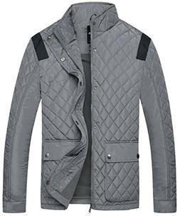 Wantdo Men's Quilted Puffer Jacket Warm Windproof Stand Coll
