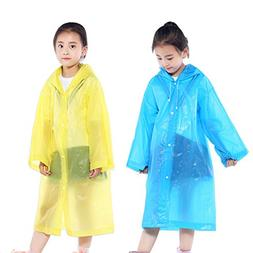 AzBoys Children Rain Ponchos 2Pack,Blue & Yellow,Waterproof