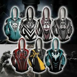 Rainbow Six Full-Zip Hoodie Jacket Men Women Casual Hoodies