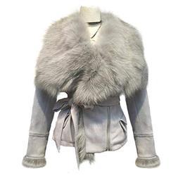 She'sModa Real Fox Fur Collar Coat with Belt Slim Fit Women'