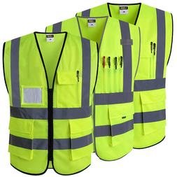 Reflective Safety Vest With Pockets <font><b>Working</b></fo
