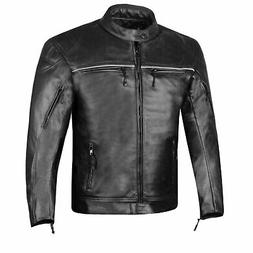 RETRO Men's Natural Buffalo Leather Motorcycle Street Cruise