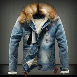 Retro Ripped <font><b>Fleece</b></font> Jeans <font><b>Jacke