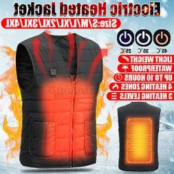 S-4XL Unisex Electric Vest Heated Jacket USB Warm Heat Pad W