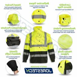 Safety Rain Jacket Reflective Green Hi-Vis Raincoat Rainjack
