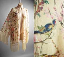 Sale Japanese Asian Floral Bird Print Vtg 1920s Kimono Robe