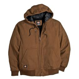 Dickies Men's Sanded Duck Sherpa Lined Hooded Jacket, Brown,