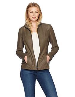 Lark & Ro Women's Scuba Leather Jacket, Taupe, Medium