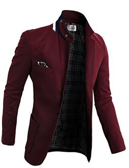 H2H Mens Fashion Slim Fit Blazer Jacket With Snap Collar WIN
