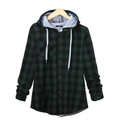 Neal LINK Women's Soft Casual Mid-Long Flannel Plaid Checker