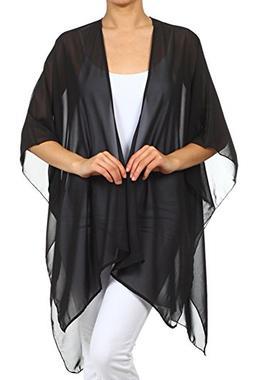 Modern Kiwi Solid Sheer Chiffon Kimono Cardigan Black One Si