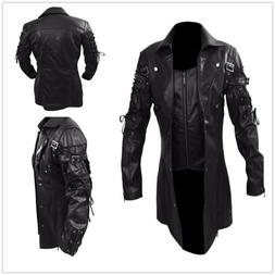steampunk men s gothic trench pu leather