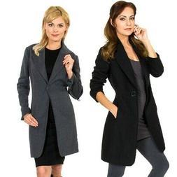 Alpine Swiss Stella Womens Wool Single Button Overcoat 7/8 L
