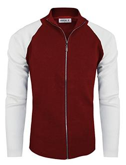 Tom's Ware Mens Stylish Colorblocked Full Zip Cardigan TWHD1