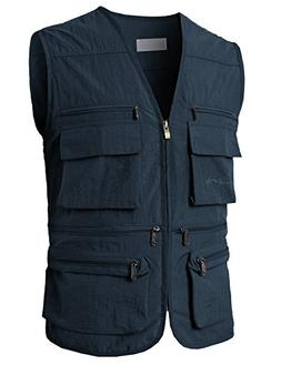 H2H Mens Summer Cotton Leisure Outdoor Plus Size Fish Vest N