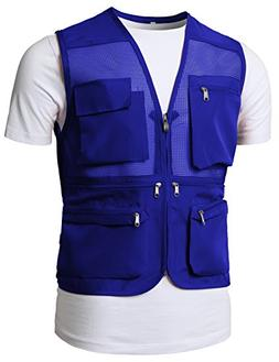 H2H Mens Summer Cotton Leisure Outdoor Plus Size Fish Vest B