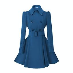 ForeMode Women Swing Double Breasted Wool Pea Coat with Belt