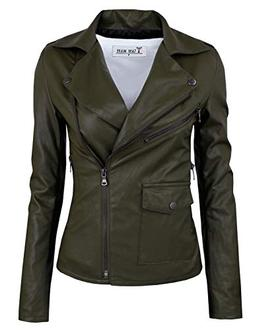 TAM WARE Womens Fashionable Asymmetrical Zip-up Faux Leather