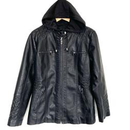 Tanming Women's Removable Hooded Faux Leather Jackets, Black