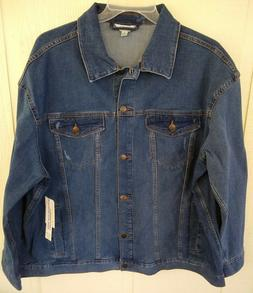 Terra & Sky Denim Jacket Women's Plus Size 1X  Medium Wash B