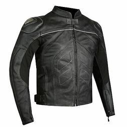 Titanium Motorcycle Leather Jacket Cowhide Street Cruiser Ar