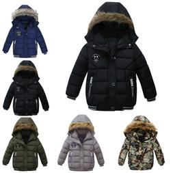 1-5T Boy Kid Winter Coat Hooded Warm Cotton Fur Padded Parka