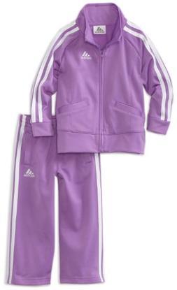 adidas Toddler Girls' Tricot Zip Jacket and Pant Set, Purple