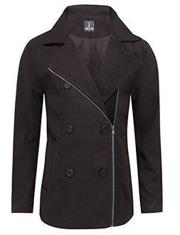 Tom's Ware Men's Stylish Wool Blend Pea Coat TWCC05LQ-C17-BR