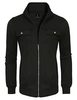 Tom's Ware Mens Zip Up Convertible Collar Jacket TWJK11-BLAC