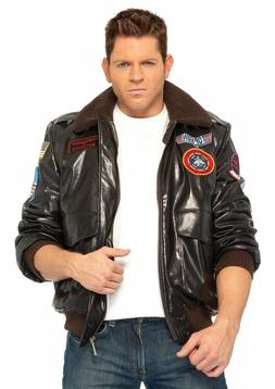 Top Gun  Authentic Look Polyurethane Bomber Jacket with Badg