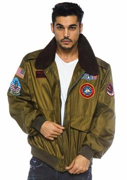 Top Gun Men's Nylon Bomber Jacket with Interchangeable Name