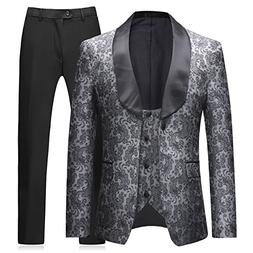 Boyland Mens 3 Pieces Tuxedos Vintage Groomsmen Wedding Suit