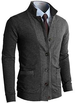 H2H Mens Two-Tone Herringbone Jacket Cardigans Charcoal US X