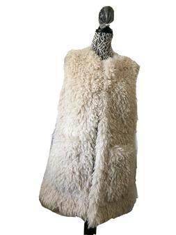 UGG WOMEN FARRAH CREAM FAUX FUR VEST JACKETS COATS Size XL