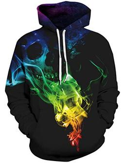 Uideazone Unisex Boys Girls 3D Skull Smoke Pullover Hoodie S