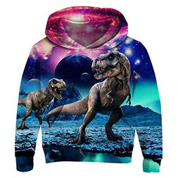 Uideazone Unisex Boys Girls Galaxy Dinosaur Hooded Sweatshir