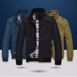 US Men's Coats Jackets Plus Size Tops Zipper Classic Slim Ou