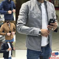 US Men's Winter Zip up Slim Collar Jacket Tops Long Sleeve C