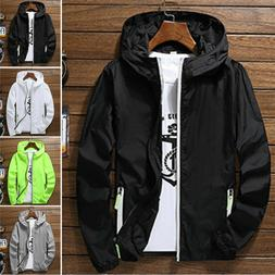 US Men Waterproof Windbreaker ZIPPER Jacket hoodie Light Spo