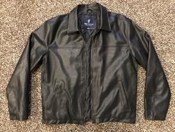 US Polo Assn Faux Leather Jacket Coat Black Men's Large