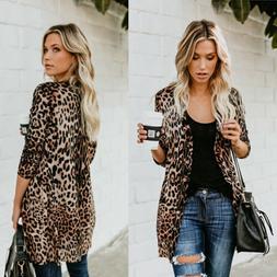 US STOCK Women Leopard Print Top Cardigan Loose Casual Long