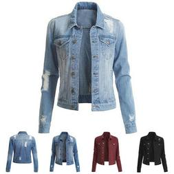 us women denim jacket long sleeve distressed