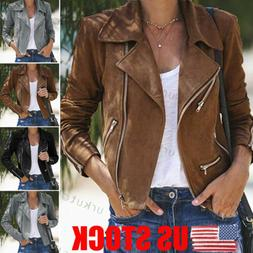 US Women Ladies Leather Jacket Coats Zip Up Biker Casual Fli