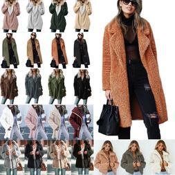 US Women Ladies Warm Teddy Bear Fleece Tops Jacket Zip Up Ov