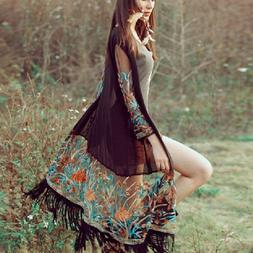 US Women's Long Sleeve Floral Tassel Cardigan Kimono Chiffon