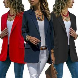 US Women Slim Casual Suit Blazer Coat Jacket OL Office Work
