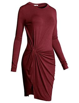 H2H Women V Neck Knotted Summer Casual Front Slit Dress Cock