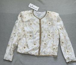 Vintage Laurence Kazar Med Floral Sequins & Beads Jacket Top